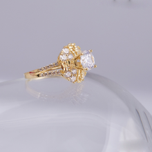 Opal_ Nhẫn bạc phủ vàng cao cấp đính đá   _T05