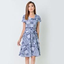 Đầm xòe thời trang Eden màu xanh - D360
