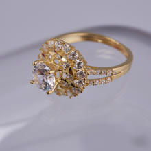 Opal_Nhẫn bạc phủ vàng đính đá lấp lánh   _T05
