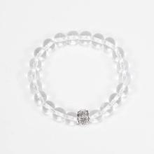 Vòng tay phong thủy đá thạch anh trắng phối charm bạc (8mm) Ngọc Quý Gemstones
