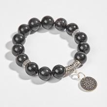 Vòng tay phong thủy đá mắt hổ xanh đen phối charm hoa sen bạc (10mm) Ngọc Quý Gemstones