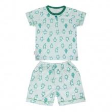 Bộ Pyjamas ngắn bé trai BN1070 (hoa văn ngẫu nhiên)_Xanh lá_size 1,2