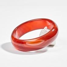 Vòng tay phong thủy đá mã não đỏ liền khối over-size ni 60 Ngọc Quý Gemstones