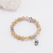 Vòng thạch anh tóc vàng phối charm tỳ hưu treo (8mm) Ngọc Quý Gemstones