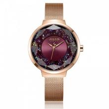 Đồng hồ nữ JA-1111D Julius Hàn Quốc dây thép (đồng tím)