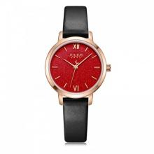 Đồng hồ nữ JA-1127D Julius Hàn Quốc dây da (đen mặt đỏ)