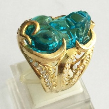 Nhẫn nam tỳ hưu đá thạch anh tự nhiên mạ vàng 18k - RM0996