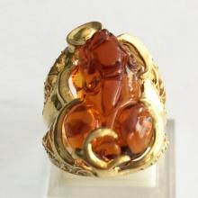 Nhẫn nam tỳ hưu đá thạch anh tự nhiên mạ vàng 18k - RM0995