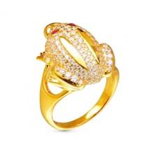 Nhẫn con cóc bạc mạ vàng 14k - NNU359