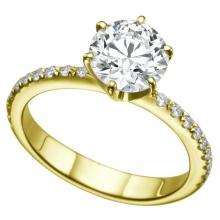 Nhẫn nữ đá kim cương nhân tạo mạ vàng 14k - NNU022