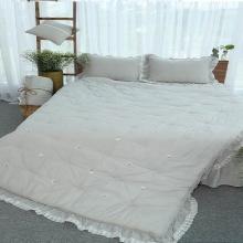 Chăn thu đông thiết kế thêu 100% cotton - linen Grand - 220 x 240 - Xám nhạt