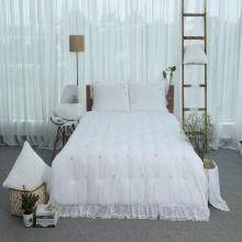 Chăn thu đông thiết kế thêu 100% cotton - linen Grand - 160 x 210 - Trắng