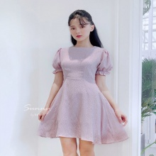 Đầm bi xòe tay bồng - ad190043