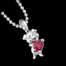 Mặt dây chuyền bạc PNJSilver hình con heo ôm trái tim màu đỏ 0000K060013