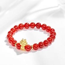 Vòng tay đá mã não đỏ charm tuổi thìn bạc mạ vàng 24k Ngọc Quý Gemstones