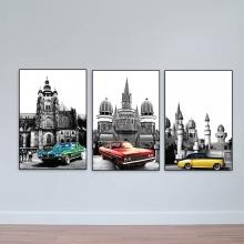 Bộ 3 tranh scandinavian Lâu đài và những chiếc xe – W1707