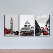 Bộ 3 tranh scandinavian thành phố và những chiếc xe – W1706