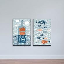 Bộ 2 tranh treo quán cà phê hình Lọ và Cá W1078
