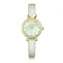 Đồng hồ nữ JA-1014A Julius Hàn Quốc dây da (kem viền vàng)
