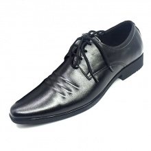 Giày công sở buộc dây nam họa tiết 3 gân da bò cao cấp N1621BD(đen) Lucacy