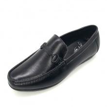 Giày mọi lười nam đai khóa da bò thật N500K(đen) Lucacy