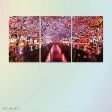 """Bộ 3 tranh treo tường hoa đào """"mùa xuân Nhật Bản"""" W537"""