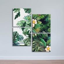 """Bộ 4 tranh treo tường hoa lá """"Lá xanh nhiệt đới"""" – W390"""