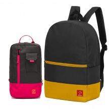Combo balo du lịch Glado classical BLL007 (màu xám phối vàng) và túi đeo chéo GEX002 (màu đen phối đỏ)