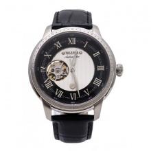 Đồng hồ dây da nam Valence dây đen mặt trắng VC-032B