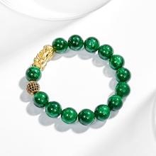 Vòng tay nam đá cẩm thạch phối charm Tỳ Hưu bạc mạ vàng 24k - Ngọc Quý Gemstones