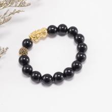 Vòng tay nam đá obsidian phối tỳ hưu bạc mạ vàng 24k Ngọc Quý Gemstones