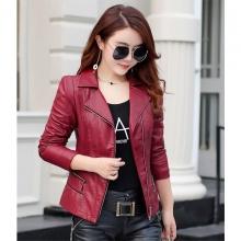 Áo khoác da nữ thu đông cao cấp AKN01 - Đỏ