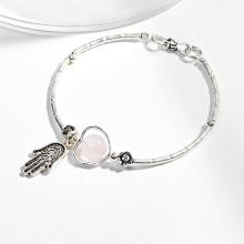 Vòng tay bạc 1 hạt đá thạch anh hồng phối charm bàn tay hamsa bạc Ngọc Quý Gemstones