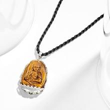 Mặt dây chuyền Phật Bản Mệnh A Di Đà đá mắt hổ bọc bạc tuổi Tuất, Hợi - Ngọc Quý Gemstones
