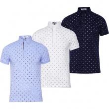 Bộ 3 áo thun nam cổ bẻ họa tiết chữ X PigoFashion GU02 (trắng, xám, xanh đen)