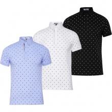 Bộ 3 áo thun nam cổ bẻ họa tiết chữ X PigoFashion GU02 (trắng, xám, đen)