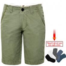 Quần short kaki nam cao cấp pigofashion PSK01 (Rêu xanh, tặng vớ)