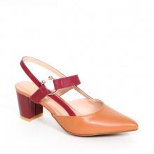 Giày Nữ, Giày Cao Gót Kitten Heel Erosska Đế Vuông Cao 5cm Phối Dây Đỏ - EH001 (Màu Cam Đất)