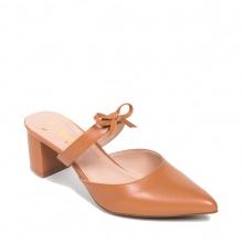 Giày nữ, giày mules Erosska cao gót 5cm thời trang phối quai nơ _ EH026 (BR)