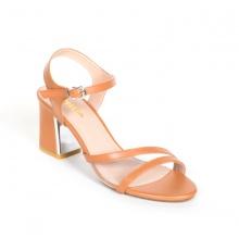 Giày nữ, giày cao gót block heel Erosska phối mica trong suốt quai mảnh tinh tế cao 7cm - EM020 (BR)