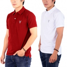 Bộ 2 áo thun nam cổ bẻ chuẩn mọi phong cách pigofashion PG01 (đỏ đô, trắng)