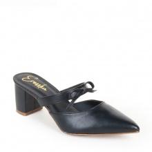 Giày nữ, giày mules erosska cao gót 5cm thời trang phối quai nơ EH026 ( màu đen )