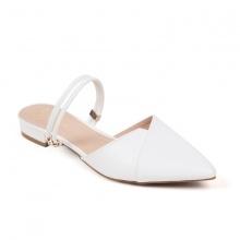 Giày nữ, giày cao gót kitten heel Erosska mũi nhọn cao 2cm mũi nhọn phối dây thời trang - EL004 (Màu trắng)