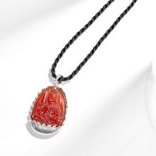 Mặt dây chuyền phật bản mệnh tuổi Dậu Bất động minh vương đá mã não bọc bạc Ngọc Quý Gemstones