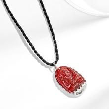Mặt dây chuyền phật bản mệnh tuổi Sửu Dần Hư không tạng bồ tát đá mã não đỏ bọc bạc Ngọc Quý Gemstones