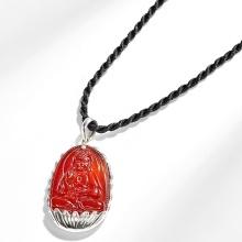 Mặt dây chuyền phật bản mệnh tuổi Tuất Hợi A di đà đá mã não đỏ bọc bạc Ngọc Quý Gemstones