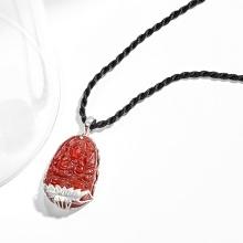 Mặt dây chuyền phật bản mệnh tuổi Tý Thiên thủ thiên nhãn bồ tát đá mã não đỏ bọc bạc Ngọc Quý Gemstones