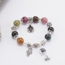 Vòng tourmaline đa sắc phối charm lá bạc (10mm) Ngọc Quý Gemstones