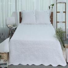 Tấm trải giường thiết kế thêu hoa Grand 180 x 220 - Trắng