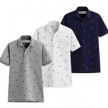 Bộ 3 áo thun nam Polo hoạ tiết cánh buồm pigofashion AHT01 (Xám, trắng, xanh đen)